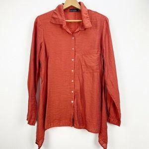 Cut Loose Burnt Orange Button Front Blouse Medium